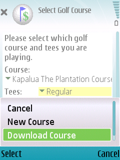 Select Course Screen.